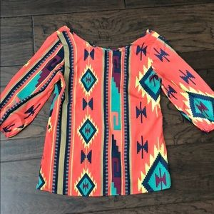 Aztec Tribal Coral Turquoise Top
